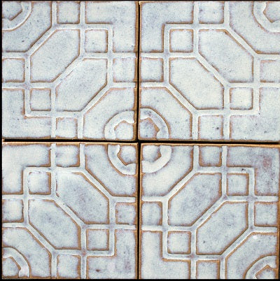 Zena Hand Painted Relief Tile - Chowder Glazes