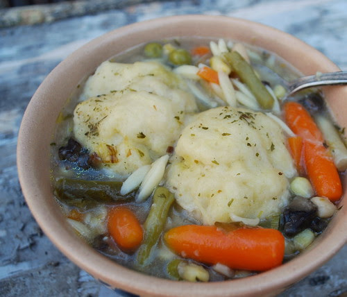 Vegetable Leek Soup with dumplings