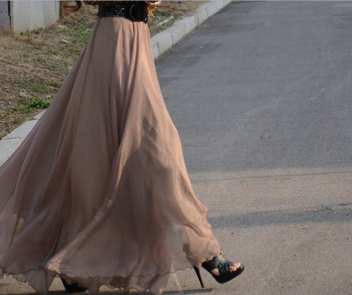 women's gold coffee silk Chiffon 8 meters of skirt circumference  long dress maxi skirt qz02, chiffon skirt, chiffon dress, fashion tips, summer style, summer look, summer breeze, hijab style, covered style