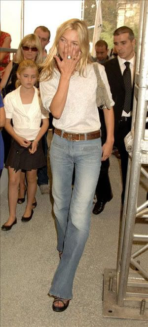 Kate Moss wearing vintage Chloe wide leg jeans