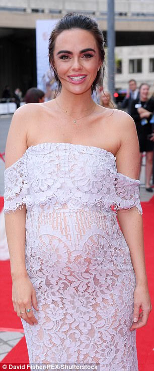 Delicate: The dress flowed down to the floor and hung off Jennifer's still-petite frame, and consisted of a nude slip layered underneath a pretty lilac lace pattern.