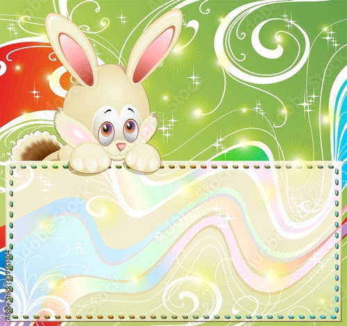 Coniglio Cartoon Pasqua-Banner-Cute Easter Rabbit Greeting Card