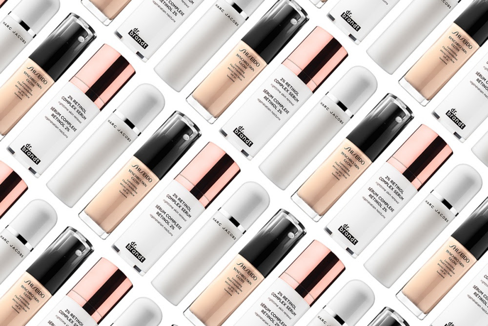 Marc Jacobs Re(cover) Perfecting Coconut Setting Mist, Dr. Brandt Skincare 2% Retinol Complex Serum and Shiseido Synchro Skin Glow Luminizing Fluid Foundation