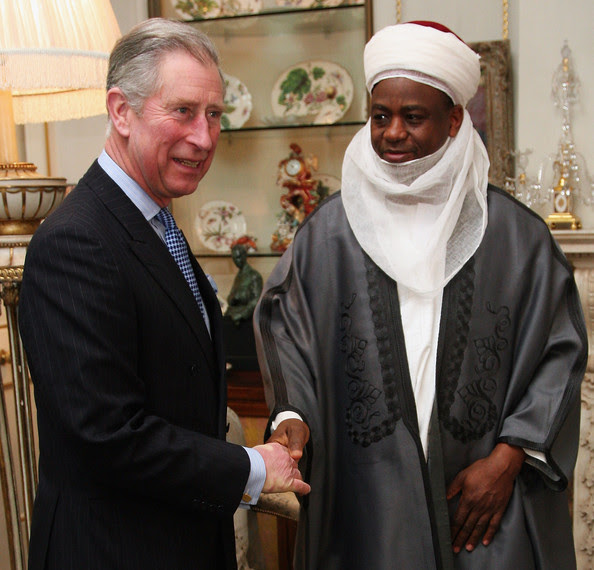 Prince Charles, the Prince of Wales greets the spiritual leader of Nigeria's Muslim community, The Sultan of Sokoto, Mohamed Sa'ad Abubakar at Clarence House on February 18, 2009 in London. The Sultan is the titular ruler of Sokoto in northern Nigeria. He is the leader of approximately 70 million Nigerian and West African Muslims and is the son of the late Sultan Abubbakar Sadiq III.