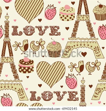 love in paris seamless pattern stock vector 69432145 shutterstock love in paris 450x470