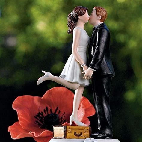 'Honeymoon Bound'Kissing Bride and Groom Cake Topper