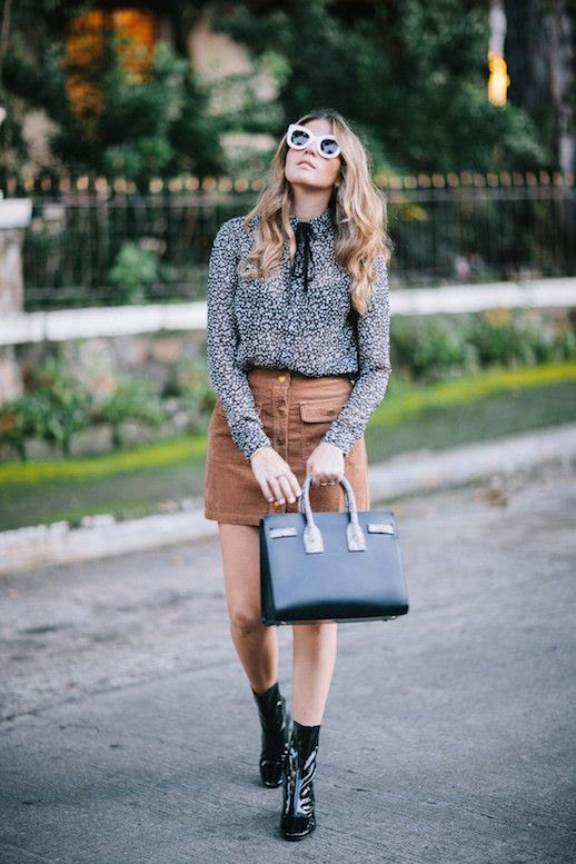Le Fashion Blog Cat Eye Sunglasses Neck Tie Blouse Suede Mini Skirt Patent Sock Boots Via A Constellation Journal