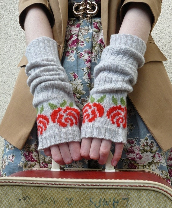 Winter Mittens, Long Fingerless Gloves, Fingerless Mittens, English Red Rose in Pearl Grey and Tartan Scarlet Lambswool - READY TO SHIP