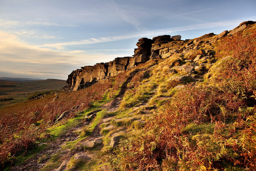 Sunset at stanage edge in the Peak District, with beautiful golden light