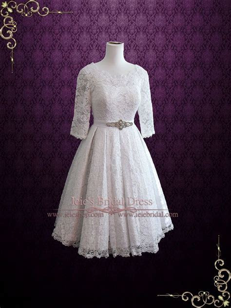 Vintage Tea Length Pleated Lace Wedding Dress with Sleeves