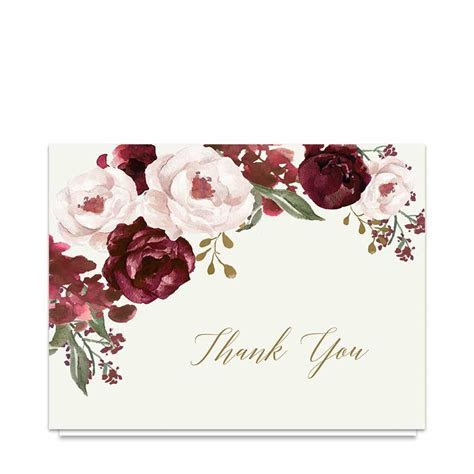 Wedding Thank You Cards Burgundy Gold Watercolor Floral in