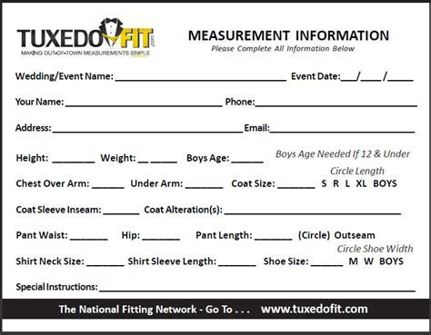 measurement form  Rose Tuxedo