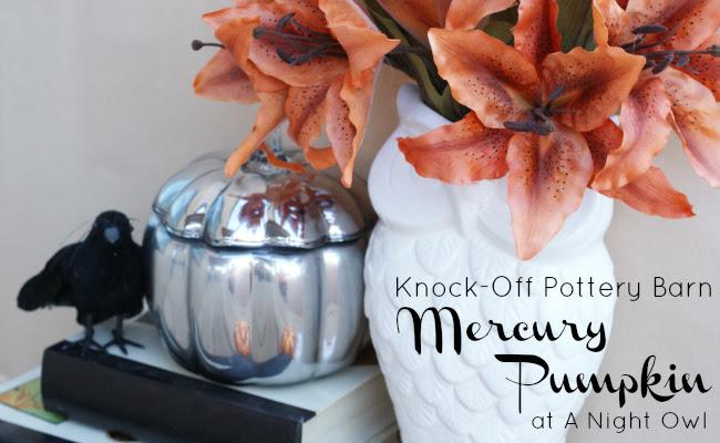 Pottery Barn Knock-Off Mercury Pumpkin at @anightowlblog