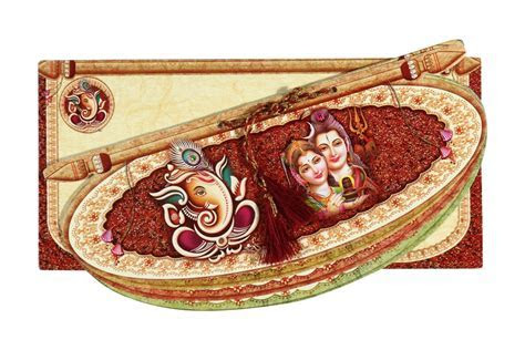 Traditional Multicolour Shiv Parvati Wedding Card