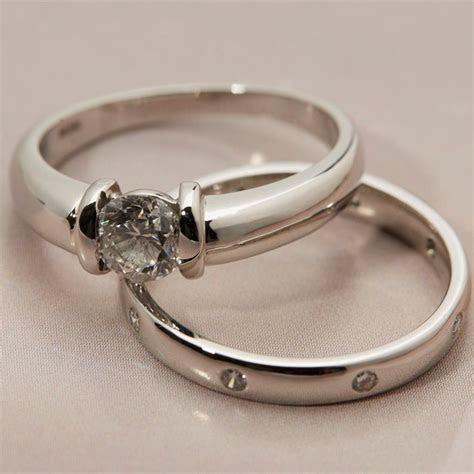 Platinum Diamond Engagement & Wedding Ring Set COM582