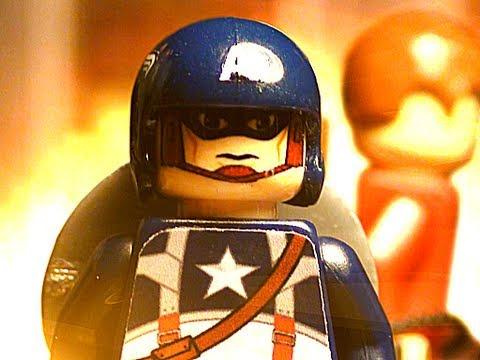 video que muestra una versión de lego de la película Capitán América