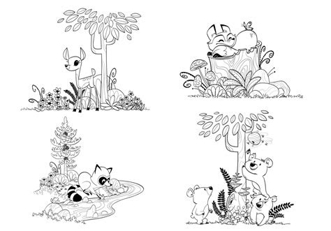woodland fox coloring pages
