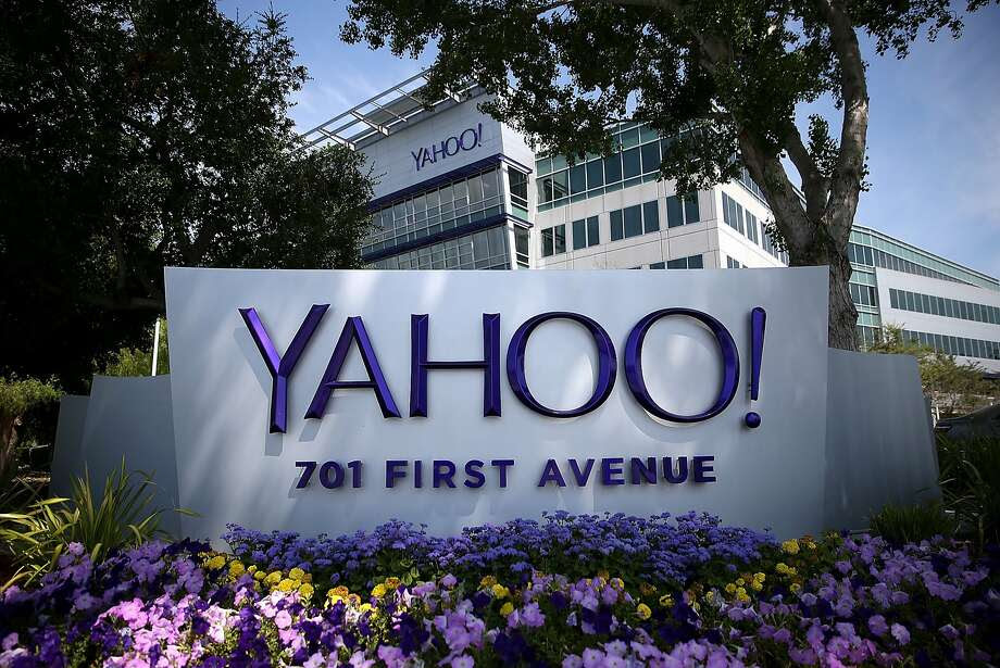 A sign in front of the Yahoo! headquarters on May 23, 2014 in Sunnyvale, California. The company laid off its first round of Sunnyvale employees on Wednesday. Photo: Justin Sullivan