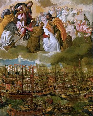 The Battle of Lepanto (c. 1572, oil on canvas,...