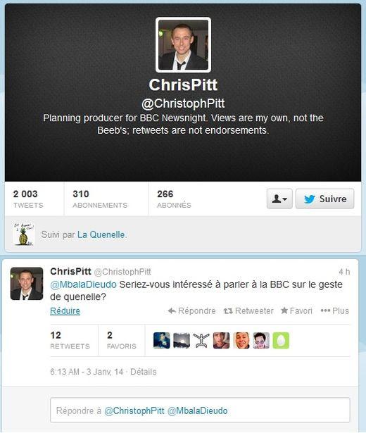 Christoph Pitt, producteur de BBC News, invite Dieudonné à s'exprimer au sujet de la Quenelle sur sa chaîne TV via son Tweeter :