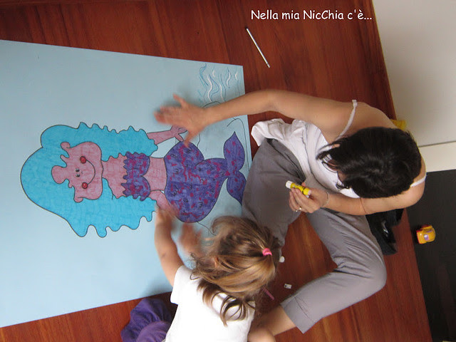 colorare, progetti creativi per bambini, pitturare la sirenetta