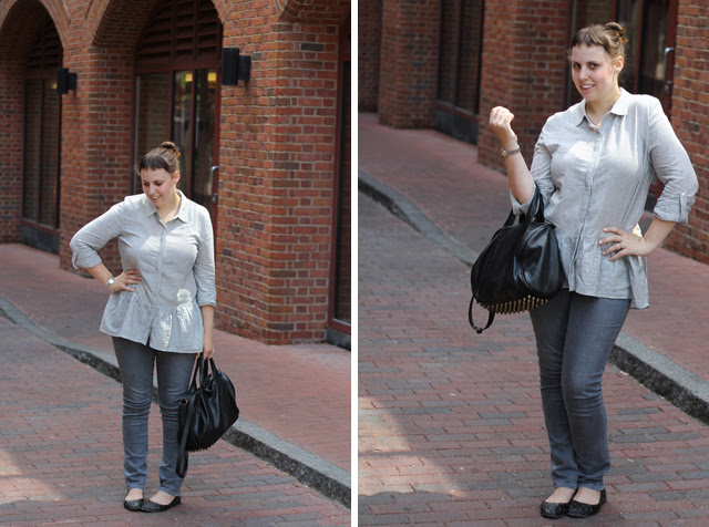 Columbus Day Trip Outfit: gray AG Stevie jeans, ruffled Anthropologie shirt, studded-bottom bag, quilted leather flats