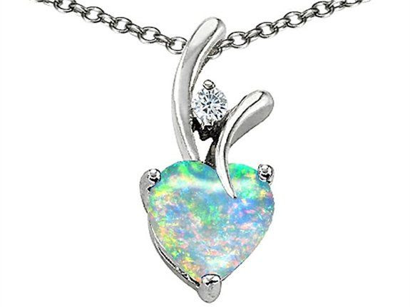 Star K Heart Shape 8mm Created Blue Opal Pendant: Pendant Necklaces: Jewelry