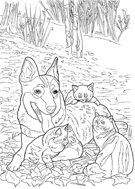 cats  dogs coloring pages stamping