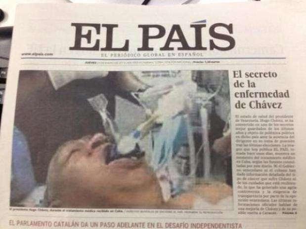 A foto falsa do presidente Hugo Chávez foi publicada na capa do jornal espanhol El País Foto:  / Terra