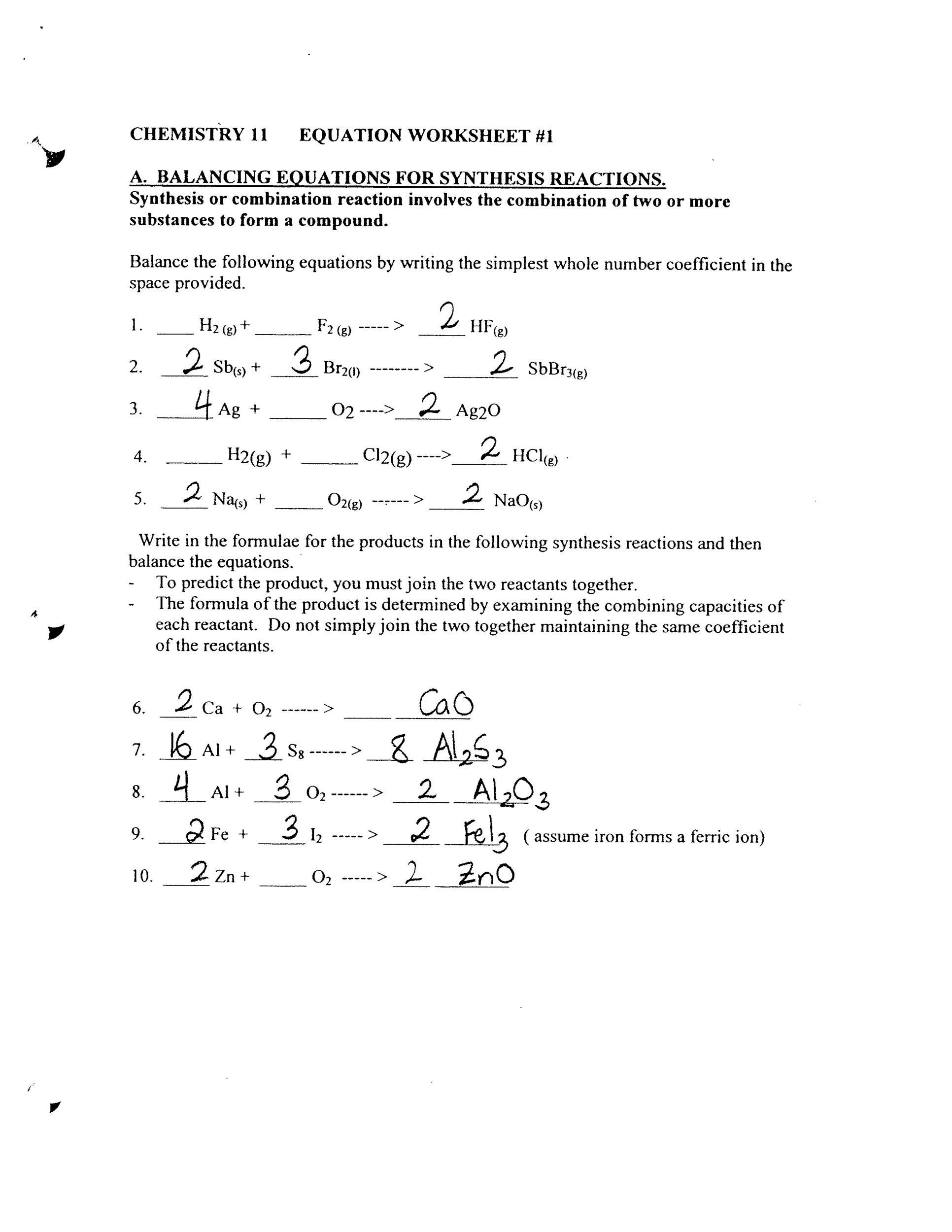 Bestseller: Worksheet 6 2 Chemical Reaction Types Answer Key