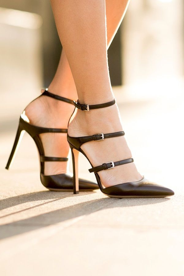 Le Fashion Blog Splurge Vs Save Gianvito Rossi Black Strappy Triple Buckled Pumps Sexy Date Night Out Shoes Via Wendys Lookbook
