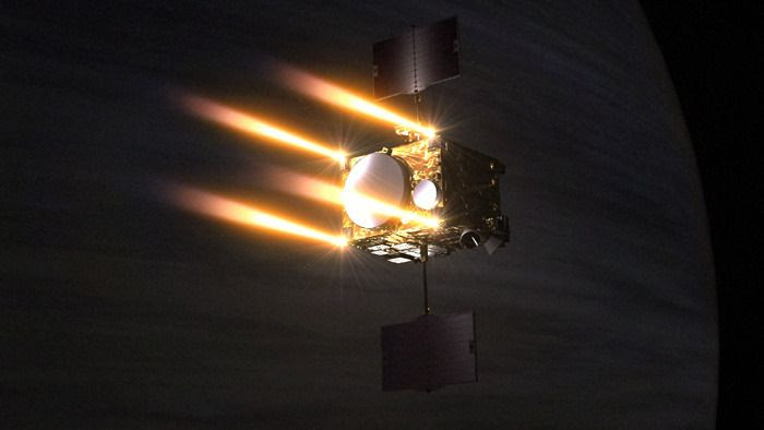 An artist's concept of the Akatsuki spacecraft firing its thrusters as it enters orbit around Venus.