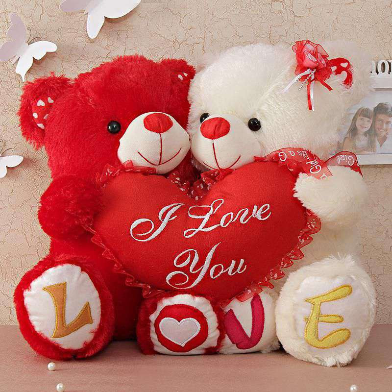 Buy Cute Couple Love Teddy Bears Holding I Love You Heart Online At