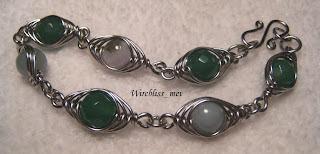 Herringbone weave bracelet with green agate and jade