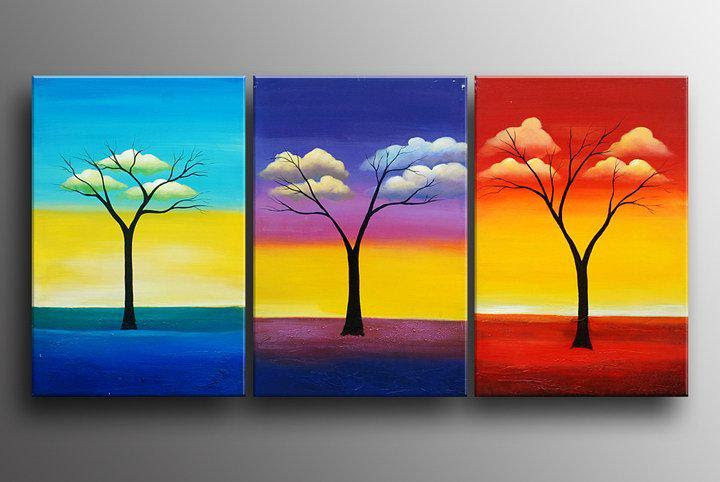 Wholesale 100% Hand painted colorful Cloud branches Abstract ...