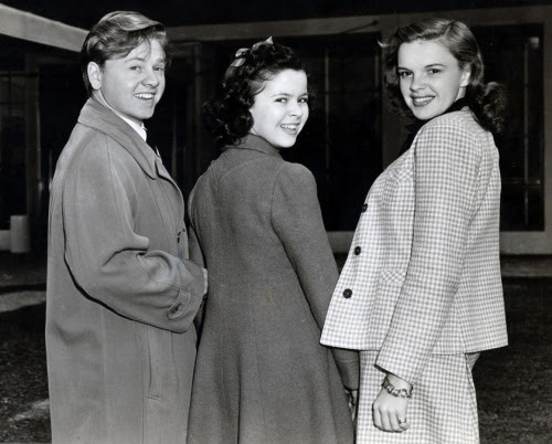 wehadfacesthen:  Mickey Rooney, Shirley Temple and Judy Garland at MGM Studios, 1941.  And now they are together again…  via carygrantslover and miss-shirley-temple