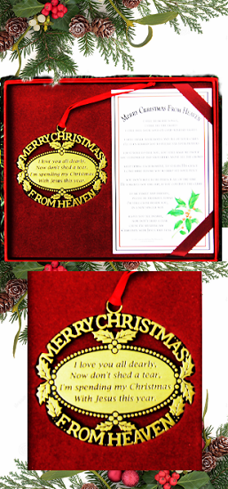 Personalized Merry Christmas From Heaven Gold Ornament