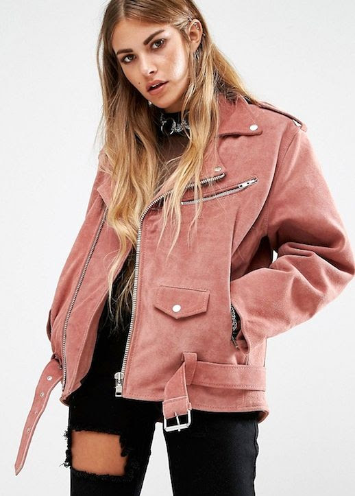 Le Fashion Blog Fall Style Long Ombre Hair Pink Suede Leather Moto Jacket Silver Necklace Black Top Distressed Denim Via ASOS