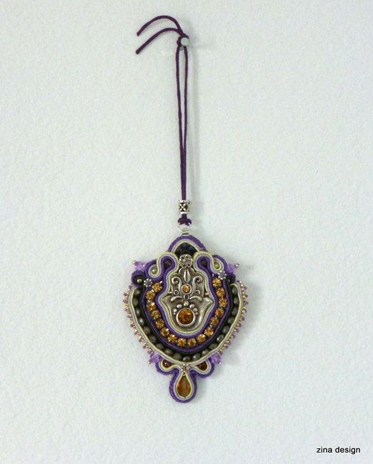 Hamsa Wall Hanging Silver and Purple Soutache by ZinaDesignJewelry, $48.00