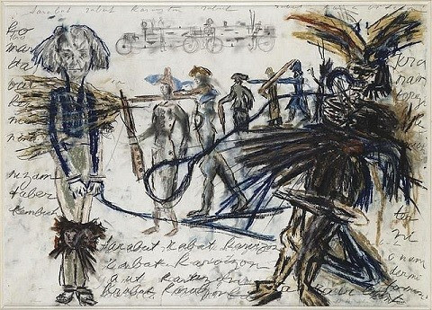 Drawing with text by Antonin Artaud
