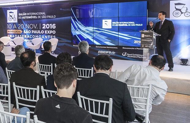João Paulo Picolo, diretor do portfólio automotivo da Reed Exhibitions Alcantara Machado, durante coletiva em que foi anunciado que o Salão do Automóvel de 2016 será no São Paulo Expo (Foto: Divulgação / Comodo Jr)