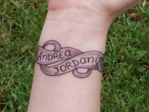 Ornamental Bracelet Tattoo Design With Names Wrist Tattoo Idea