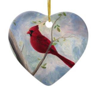 cardinal Heart Ornament ornament