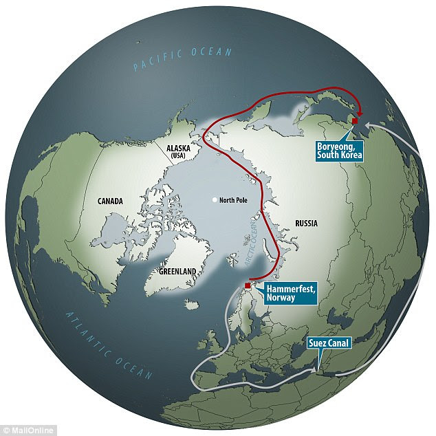 The Christophe de Margerie completed the journey from Hammerfest in Norway to Boryeong in South Korea (red line) in just 19 days.The ship completed its Arctic journey 30 per cent quicker than it would have along the alternative route, via the Suez canal (grey line)