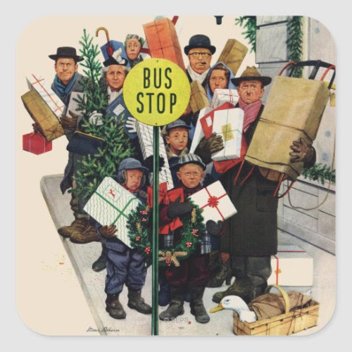 Bus Stop at Christmas | Caricature by Stevan Dohanos | Funny Sticker