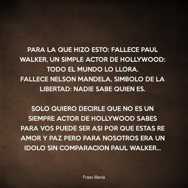 Cartel Para Para La Que Hizo Esto Fallece Paul Walker Un Simple