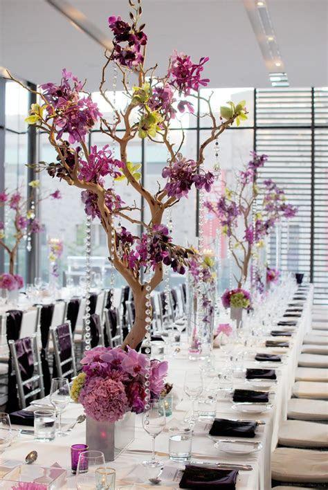 Purple Centrepiece and floral wedding decor idea   Purple
