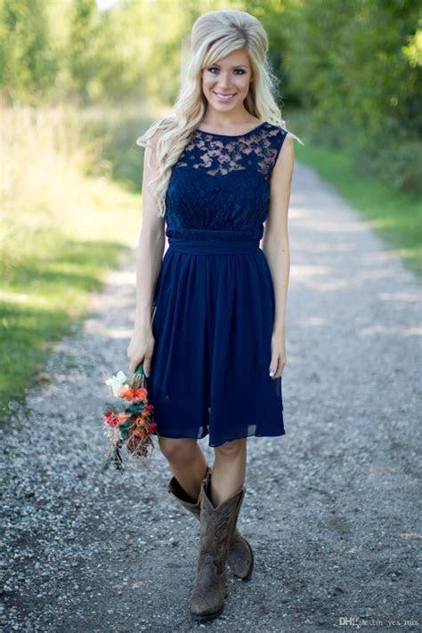 2017 Short Navy Blue Burgundy Lace Bridesmaid Dresses Cap