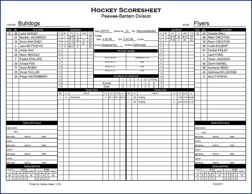 hockey score sheet Ice Hockey Score Sheet Excel