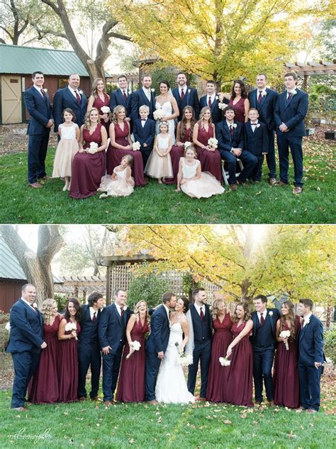 Maroon bridesmaids dresses navy groomsmen tux   My Wedding